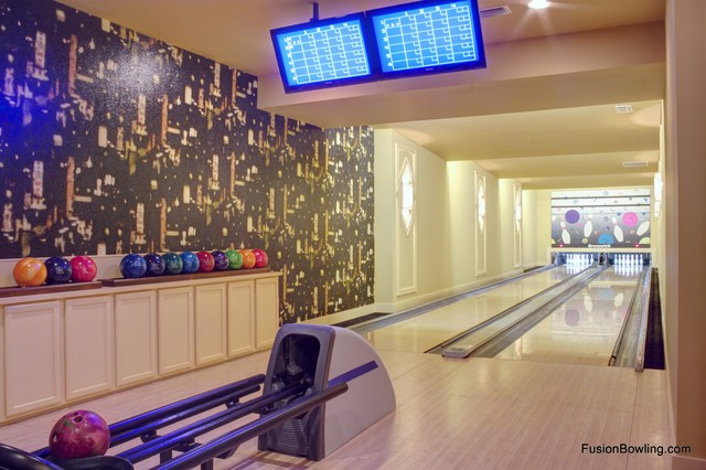 Private basement bowling alley lanes on horse farm estate contemporary