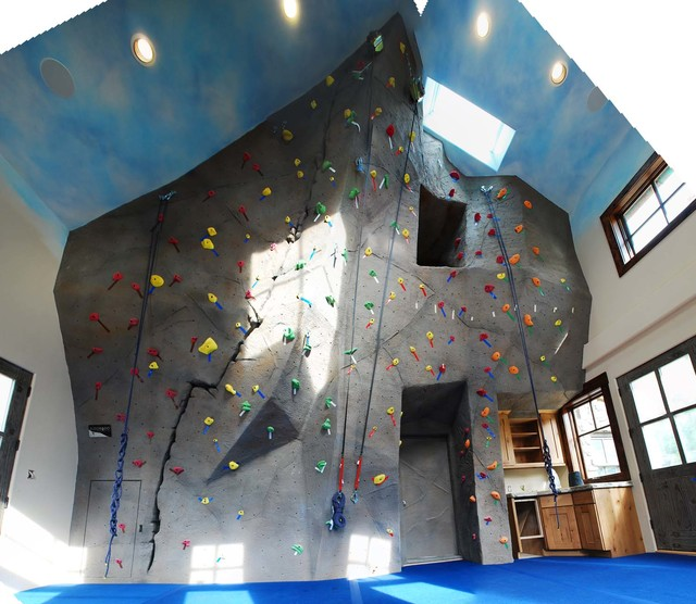 Private home climbing wall in evergreen co eclectic home gym