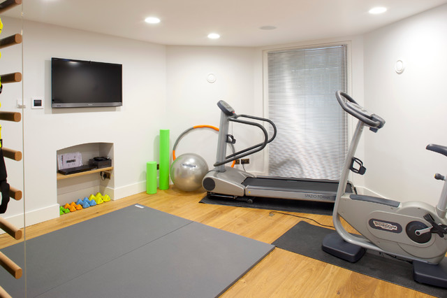 garage gym layout ideas - Private residential Kent Uk contemporary home gym