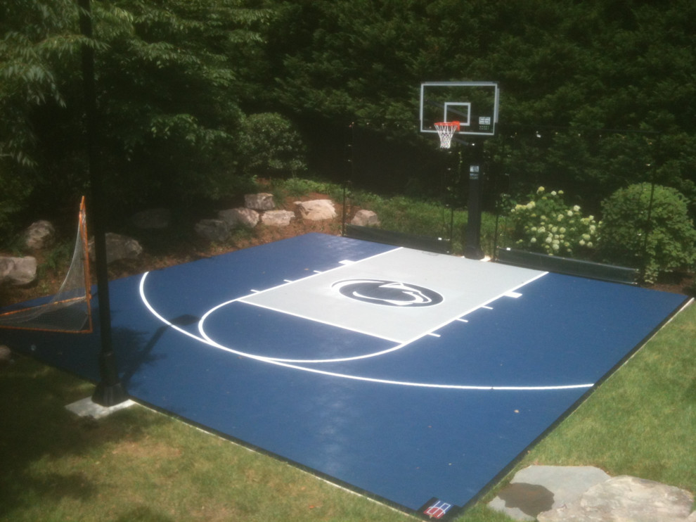 Residential 30 X30 Half Court With Penn State Logo Traditional Home Gym Dc Metro By Sport Court Of Washington Dc