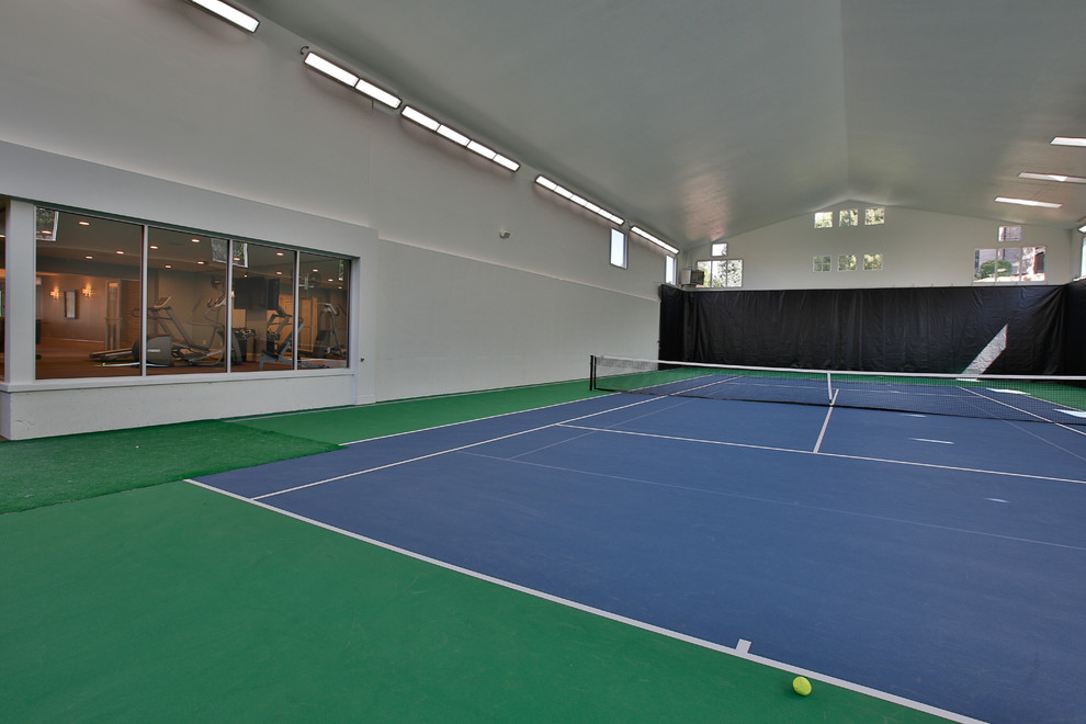 Inspiration for a large timeless indoor sport court remodel in Salt Lake City with gray walls