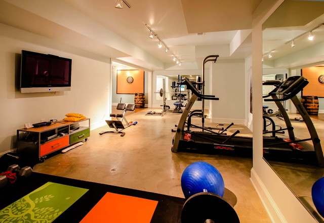 Home Gym Design Ideas Basement: Modern Basement Home GYM Area Design With TV Room