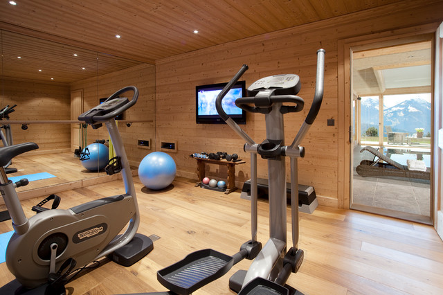 Ski resort chalet contemporary home gym other metro