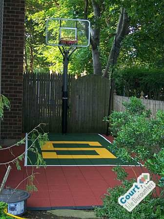Small backyard basketball court contemporary home gym for Small basketball court