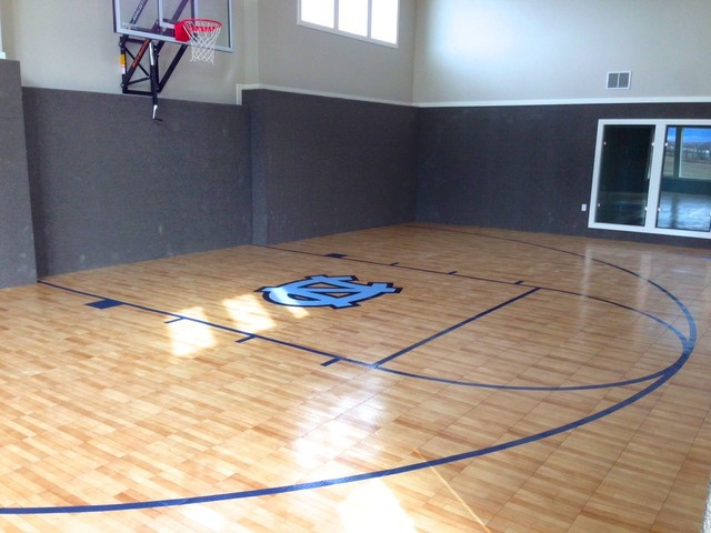 Snapsports Cox Family Indoor Home Basketball Court With Patent Tuffshield Traditional Home Gym Salt Lake City By Snapsports Athletic Floors Outdoor Courts Houzz Uk