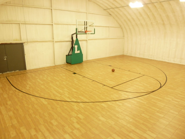 Snapsports arizona home barn to basketball court gym for Indoor basketball court flooring cost