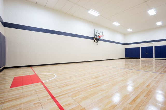 Sport room transitional home gym minneapolis by