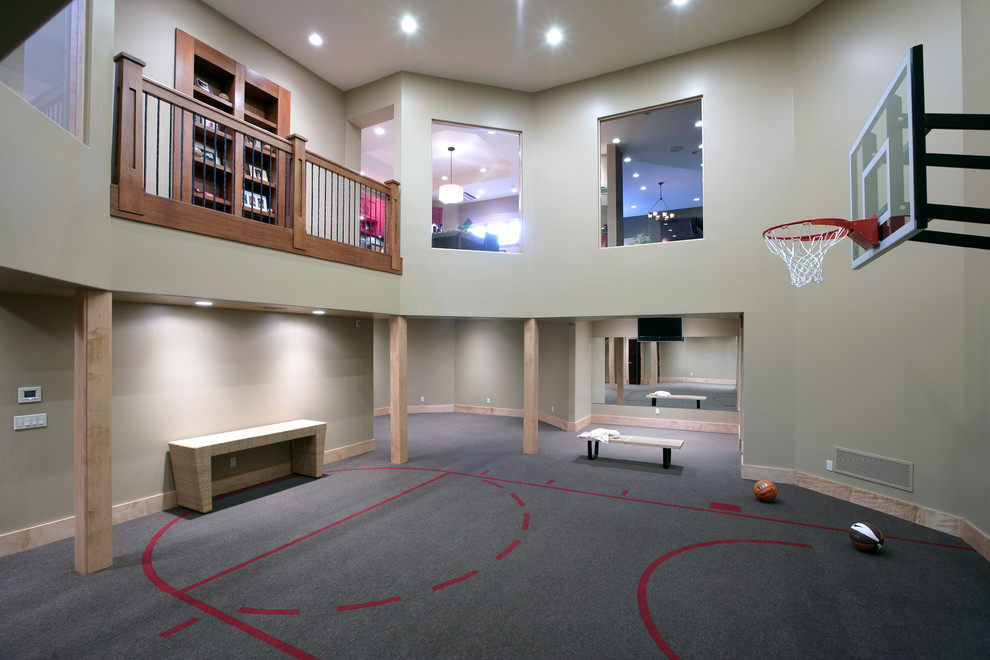 Indoor sport court - huge traditional gray floor indoor sport court idea in Grand Rapids with gray walls