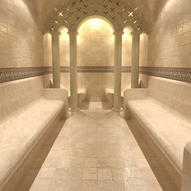 Steam Room With Columned Arch   Contemporary   Home Gym ...