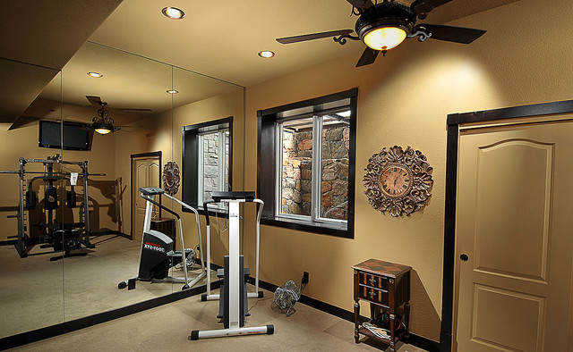 traditional home gym by Basements & Beyond