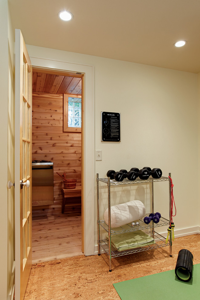 Home gym - small contemporary bamboo floor home gym idea in Milwaukee with beige walls