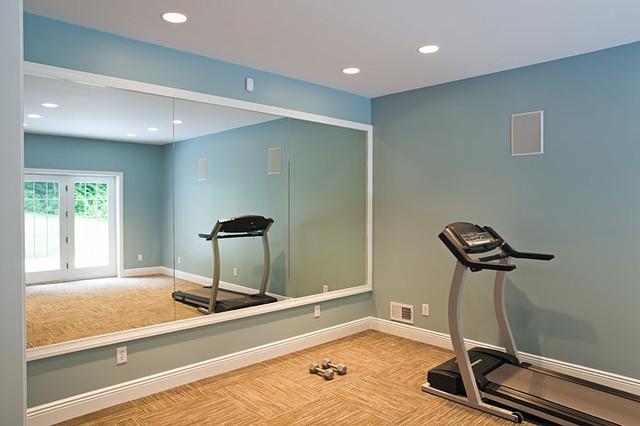 Traditional classic home traditional home gym - Espejos para gimnasios ...