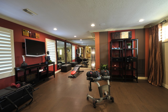 design desai t transitional home gym houston by the design