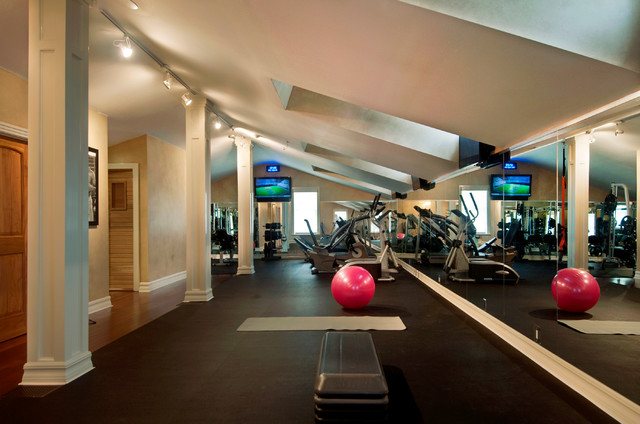 Upstairs gym traditional home tampa by hd