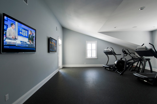 Upstairs home gym traditional tampa by hd