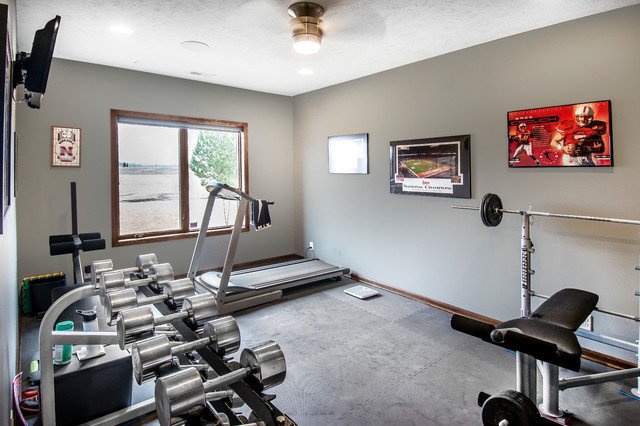 Inspiration for a multiuse home gym remodel in Other with beige walls