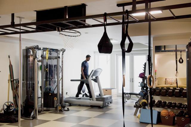 Wordly in los altos contemporary home gym san francisco by