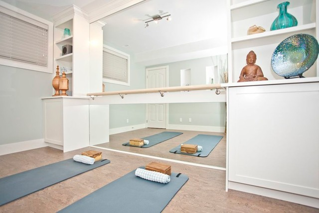 Yoga room transitional home gym calgary by ana for Yoga room interior design