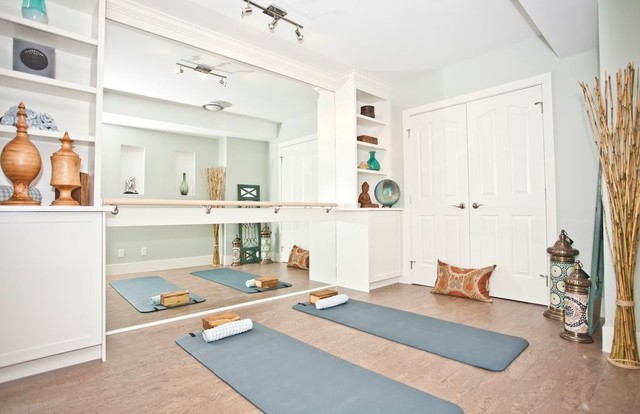 Home yoga studio photo in Calgary with white walls