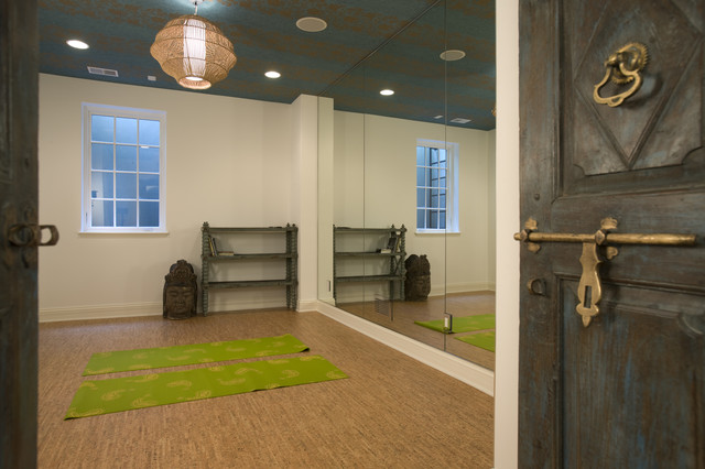 mediterranean home gym by john kraemer sons - Home Yoga Room Design