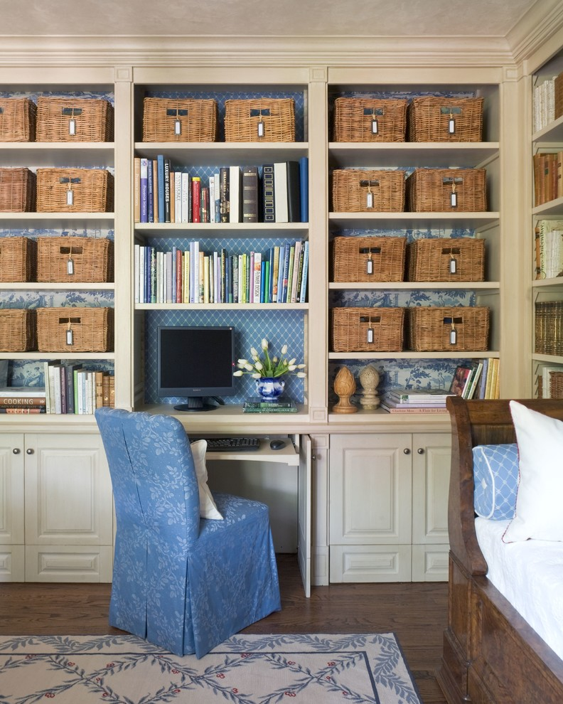 Example of a classic built-in desk home office design in Wichita
