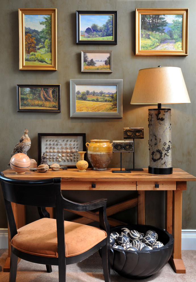 Inspiration for a mid-sized southwestern freestanding desk carpeted and gray floor study room remodel in New York with gray walls and no fireplace