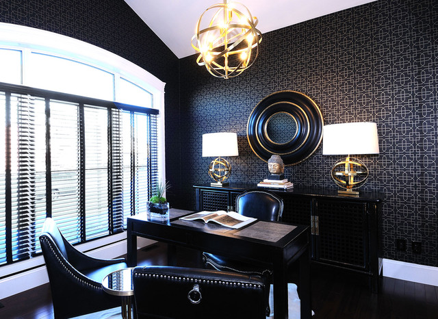 Example Of A Trendy Freestanding Desk Home Office Design With Black Walls