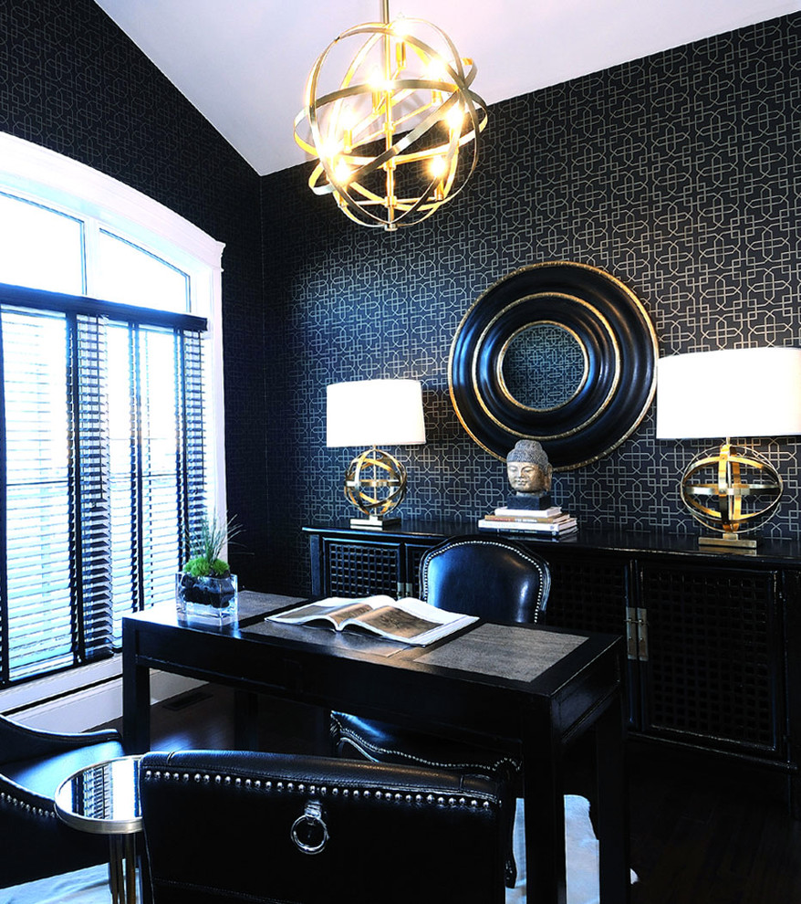 Home office - contemporary freestanding desk home office idea in Other with black walls