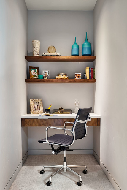 Home office - small contemporary built-in desk carpeted home office idea in Portland with gray walls