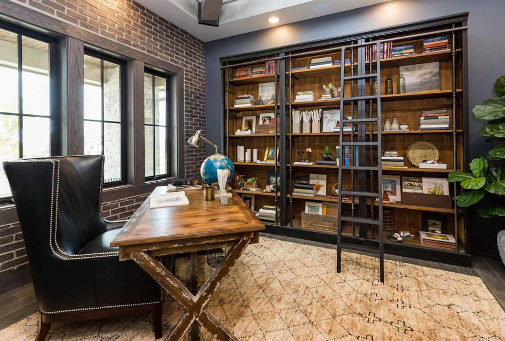 Mid-sized urban freestanding desk dark wood floor and brown floor study room photo in Other with gray walls and no fireplace