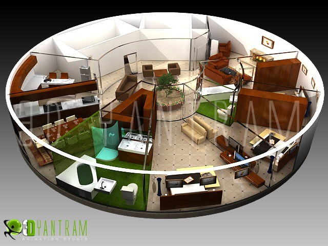 3D Floor Plan Architectural Animation Asian Home Office