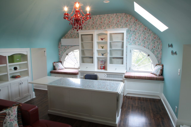 3rd Floor Attic Craft Room Beach Style Home Office