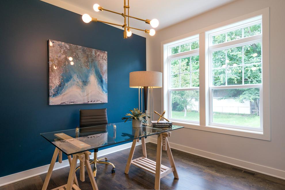 Study room - transitional freestanding desk dark wood floor and brown floor study room idea in Minneapolis with blue walls