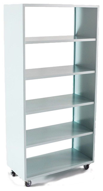 5 Shelf Active Duty Bookcase Open Back With Casters