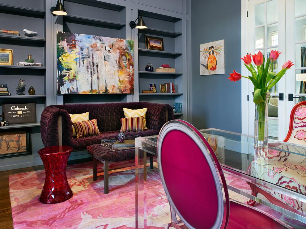 Example of a trendy freestanding desk dark wood floor home office design in Denver with gray walls