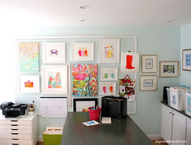 6 creative pegboard ideas contemporary home office richmond by bright bold and beautiful - Creative attarctive home office decorating ideas ...