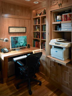 A client's workstation with the printer cabinet open - Asian - Home Office - San Francisco - by InHouse Design Studio