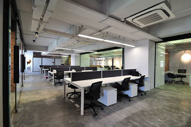 A cool raw office design modern home office hong kong by the grene group - Coolest home office designs ...