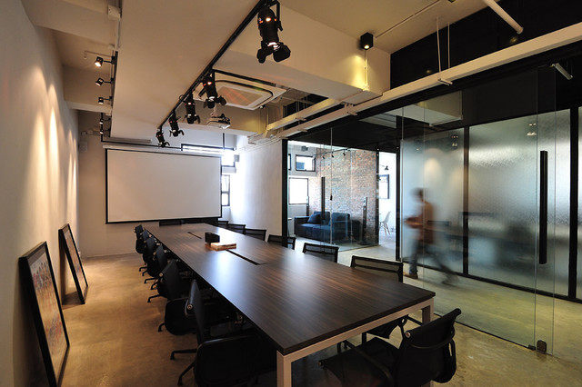 A cool raw office design modern home office hong for Office design houzz