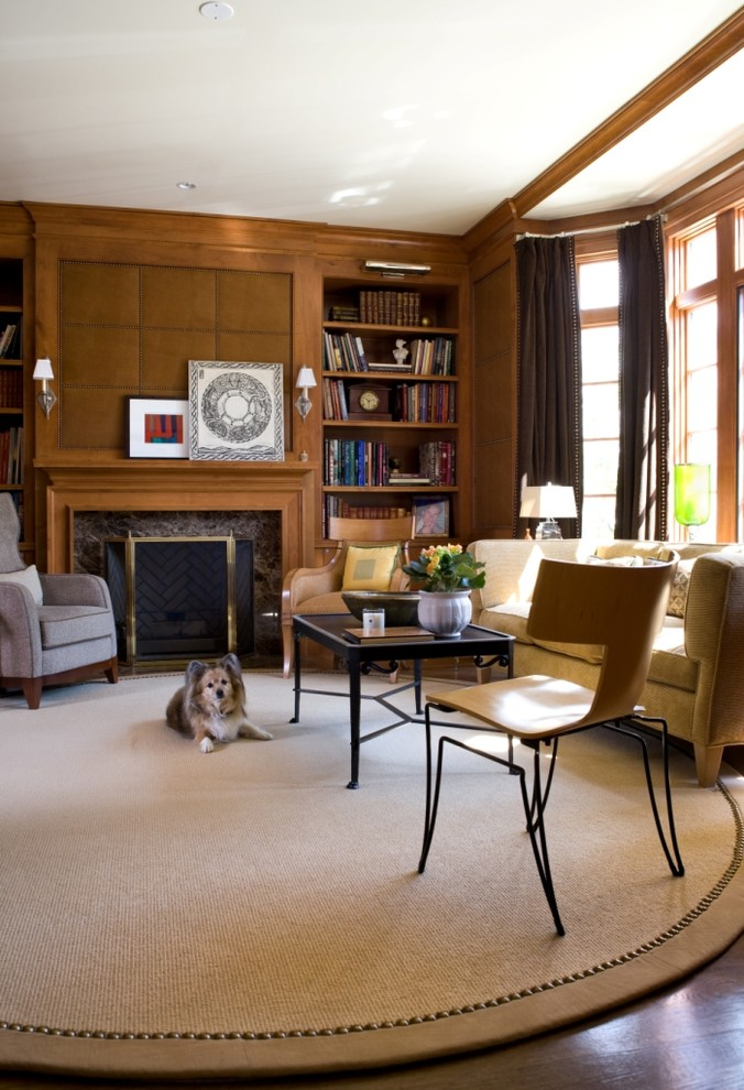 Example of a trendy dark wood floor home office design in DC Metro with a standard fireplace