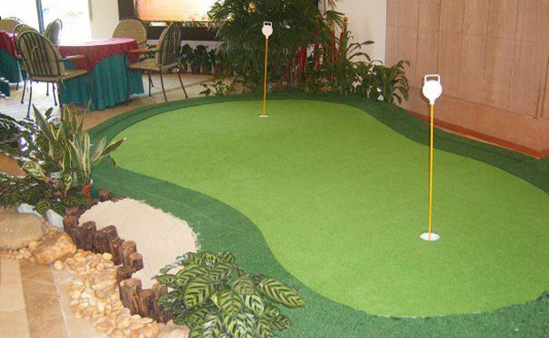 Attractive A Indoor Putting Green Modern Home Office And Library