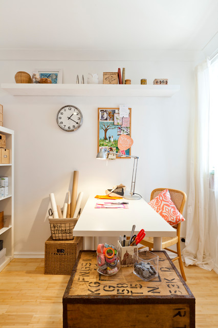 A junk room turned craft room eclectic home office for Eclectic crafts room