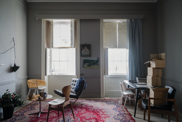 A living room painted in Worsted No.284 by Farrow & Ball ...