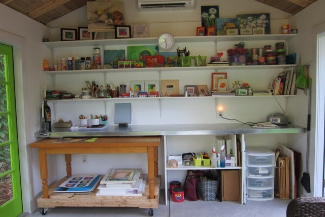a sunny artist studio eclectic home office artist office
