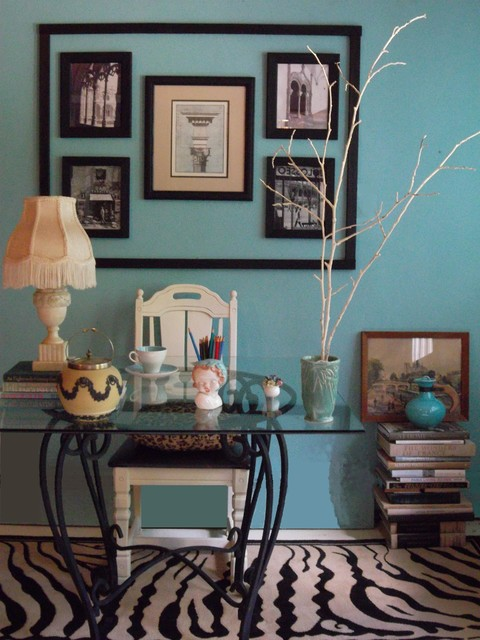 A Turquoise Office eclectic home office