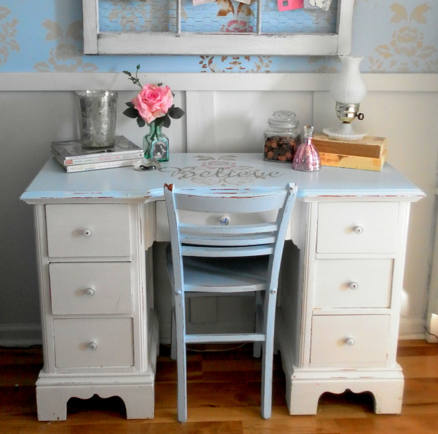 Genial A Vintage Shabby Chic Inspired Office Nook Shabby Chic Style Home Office