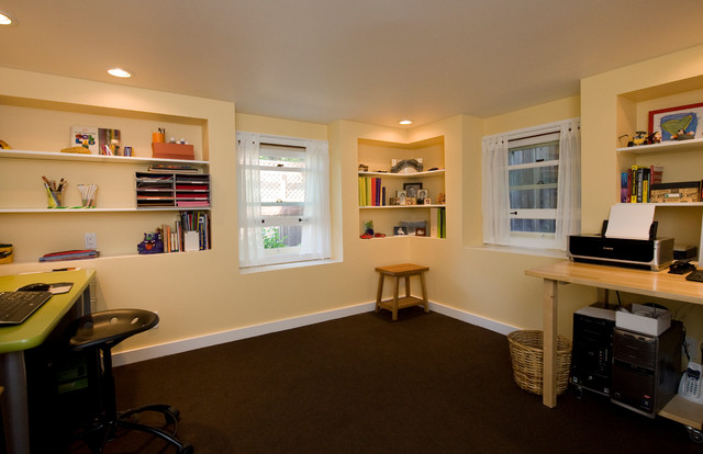 basement recreation room home office traditional home office