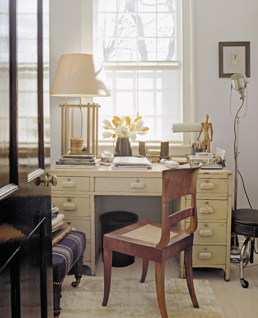 Example Of A Cottage Chic Freestanding Desk Home Office Design In New York  With Gray Walls