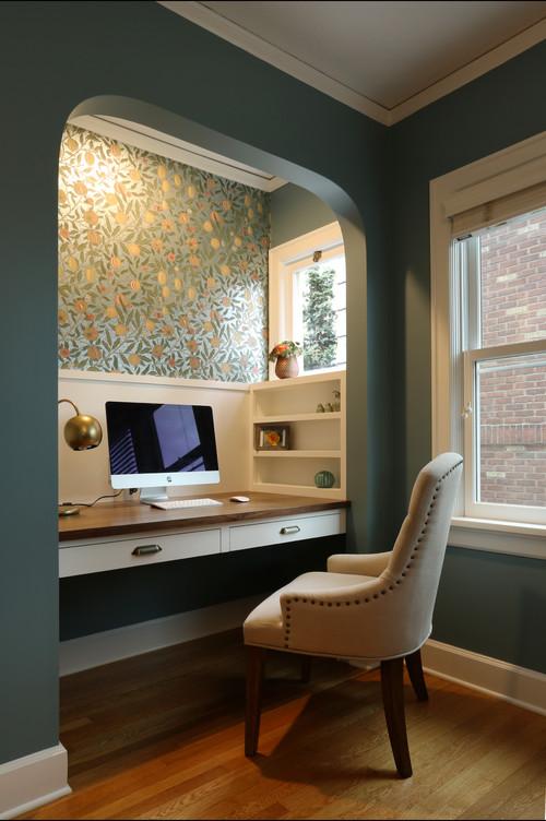 書斎の壁紙 濃いグリーン