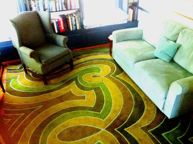 angela adams Jilly/Sprout rug in the library modern-home-office